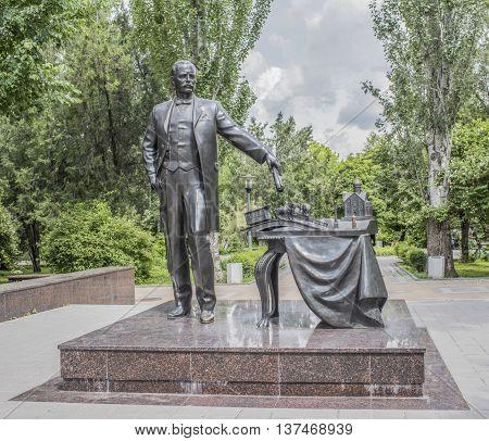 Rostov-on-Don Russia- June 122016: Memorial the mayor of Rostov-on-Don Andrey Baikov sculptor A. Sknarin