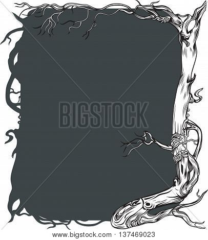 Dark grey background with old naked tree