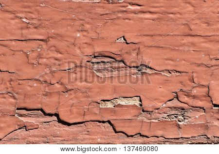 Close up from Old cracked red paint