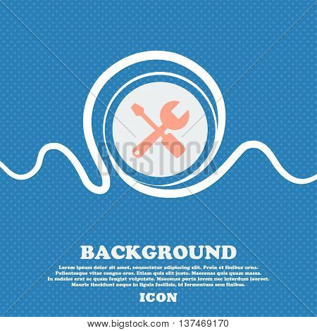 Wrench And Screwdriver Icon Sign. Blue And White Abstract Background Flecked With Space For Text And