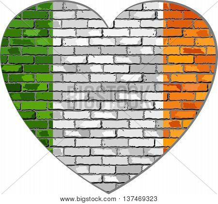 Ireland flag on a brick wall in heart shape - Illustration, Flag of Irish republic in brick style,  Abstract grunge Ireland flag