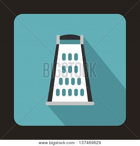 Kitchen grater icon in flat style on a light blue background