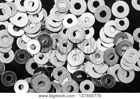 Close up from many new washers in black and white