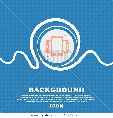 Synchronization Sign Icon. Smartphones Sync Symbol. Data Exchange. Blue And White Abstract Backgroun