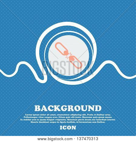 Broken Connection Flat Single Icon. Blue And White Abstract Background Flecked With Space For Text A