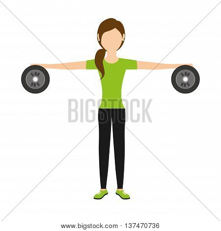 woman lifting weights isolated icon design, vector illustration  graphic