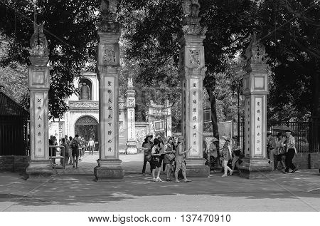 HA NOI, VIET NAM, April 30, 2016 the ruins Temple of Literature, the first university, Vietnam, in downtown Ha Noi