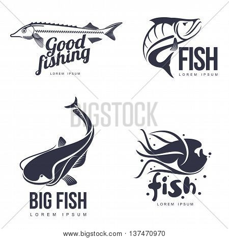 set logo sea fish illustration of a simple flat, isolated on a white background, different logos with fish for your brand, various marine fish, logo for your sea food products