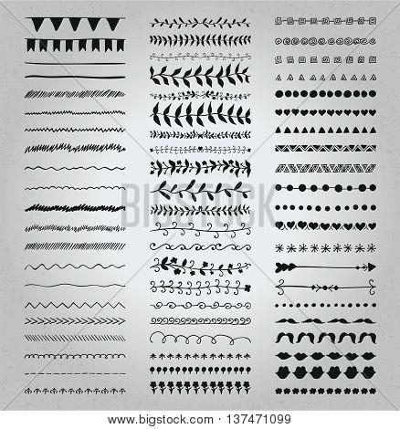Set of Hand Drawn Black Doodle Line Borders. Rustic Decorative Design Elements, Florals, Dividers, Arrows, Swirls, Scrolls on Textured Background. Sketched Vector Illustration.