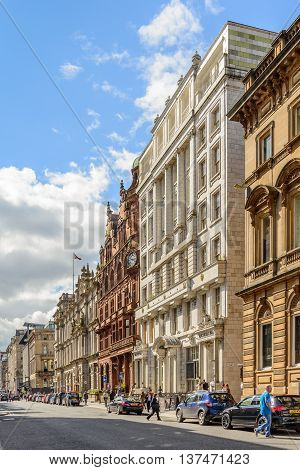 GLASGOW SCOTLAND - JULY 05 2016: View looking west along St Vincent Street in Glasgow city centre in summer.
