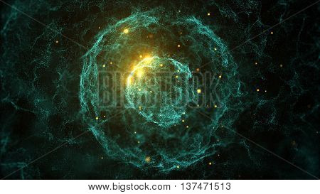 abstract 3d rendering particles background with sphere shapes that have been heavily deformed by noise displacement force