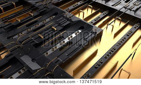 asbtract 3d rendering high details technical or sci-fi background with roughness metal elements