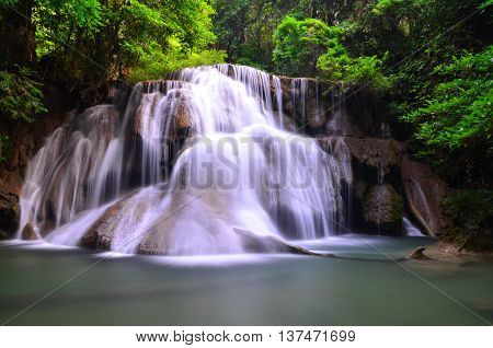 Deep forest Waterfall, in Kanchanaburi, in Thailand