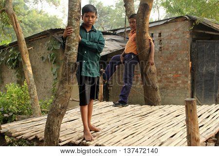 BAIDYAPUR, WEST BENGAL, INDIA - DECEMBER 01: Portrait of tribal children in a village Baidyapur, India on December 01, 2012.
