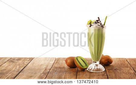 Delicious milkshake with kiwi, isolated on white