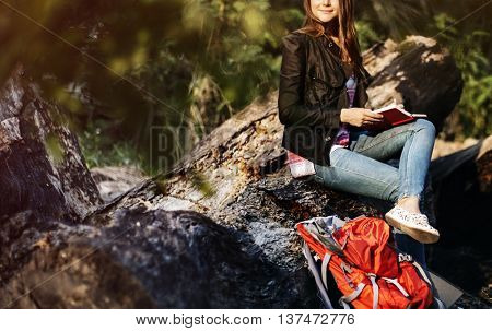 Wanderlust Book Casual River Relax Leisure Tourist Concept