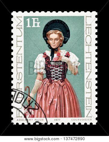 LIECHTENSTEIN - CIRCA 1972 : Cancelled postage stamp printed by Liechtenstein, that shows traditional costume.