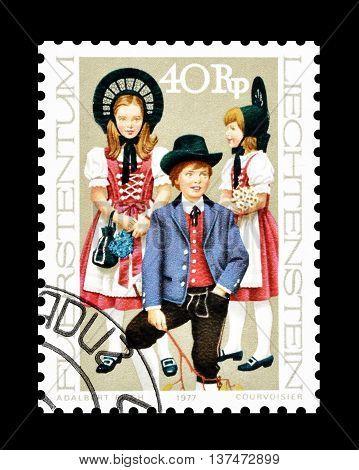 LIECHTENSTEIN - CIRCA 1972 : Cancelled postage stamp printed by Liechtenstein, that shows traditional costumes.