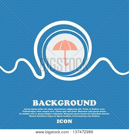 Umbrella Sign Icon. Rain Protection Symbol. Blue And White Abstract Background Flecked With Space Fo