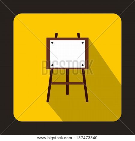 Wooden easel icon in flat style on a yellow background