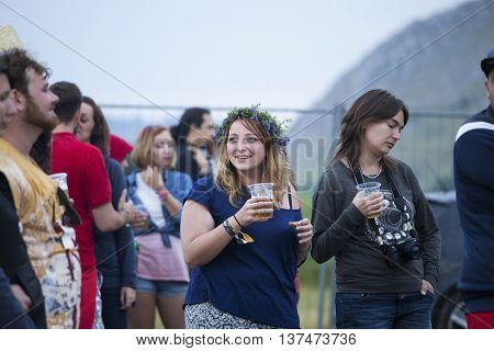 Rimetea (Torocko), Romania - July 3, 2016:Audience in front of the Main Stage at the Doublerise festival, the first multi art festival from Transylvania on July 3, 2016