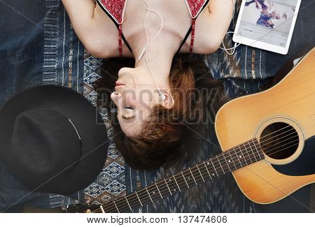 Lie Down Madam, Female Beach Guitar Concept