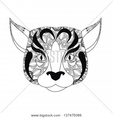 Animal and Ornamental predator concept represented by dog  icon. Draw illustration. Black and White design