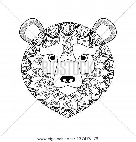 Animal and Ornamental predator concept represented by bear icon. Draw illustration. Black and White design