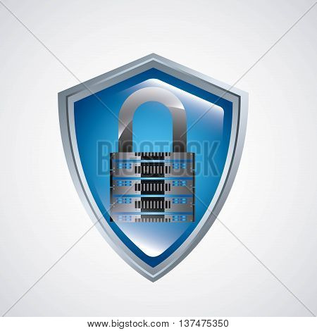 Technology and data base design represented by web hosting, shield and padlock icon. Colorfull and isolated illustration.