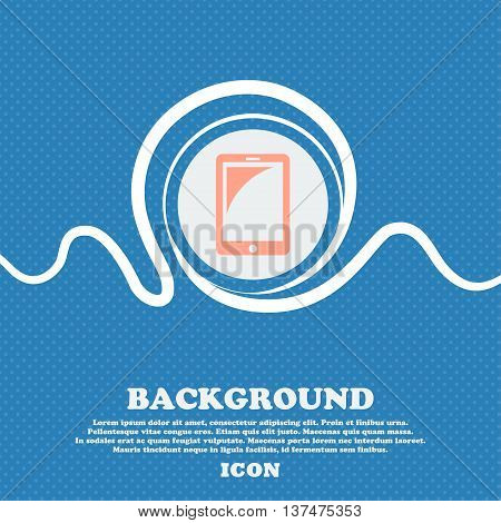 Tablet Sign Icon. Smartphone Button. Blue And White Abstract Background Flecked With Space For Text