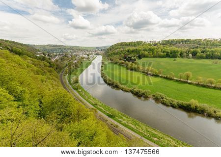 Panoramic view from River Weser with cloudy sky