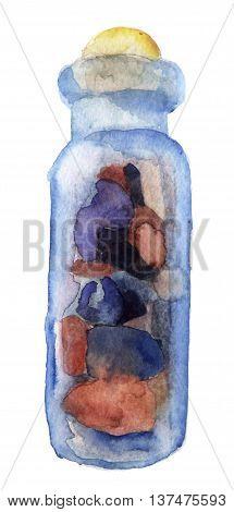 watercolor sketch of bottle on a white background