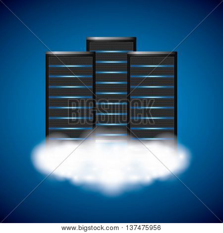Technology and data base design represented by web hosting  with cloud icon. Colorfull illustration. Blue background