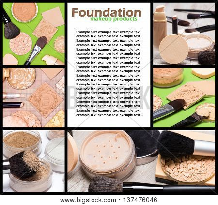 Foundation makeup products: collage made of 6 images with copy space for text in the center. Beauty theme frame