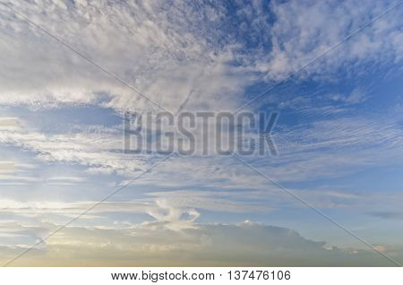 Sky background with cloudy scene (Summer evening day sky) for graphic usage