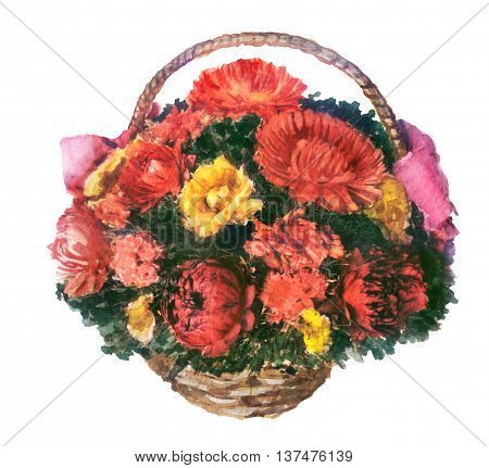 watercolor sketch of flowers in the basket on a white background