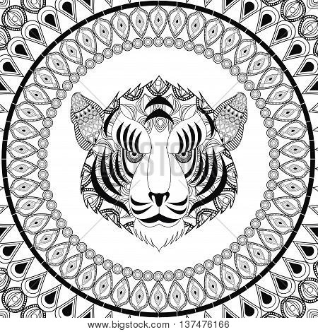 Animal and Ornamental predator concept represented by tiger icon. Draw illustration. Black and White design