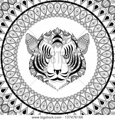 Animal and Ornamental predator concept represented by tiger icon. Draw illustration. Black and White design