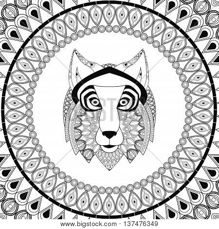 Animal and Ornamental predator concept represented by wolf  icon. Draw illustration. Black and White design