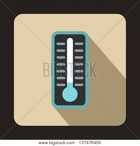 Cold thermometer icon in flat style on a beige background
