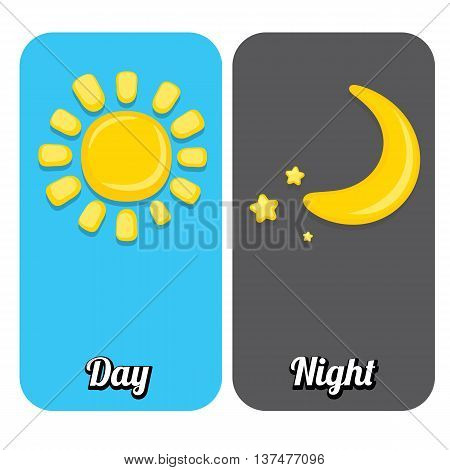 Sun and moon in sky, day and night. Vector illustration
