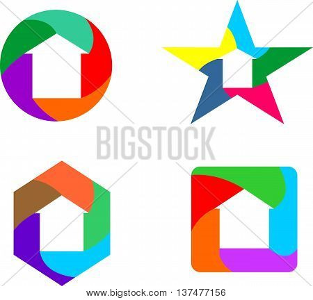 stock logo real estate icon with multi color