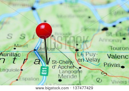 St-Chely-d Apcher pinned on a map of France