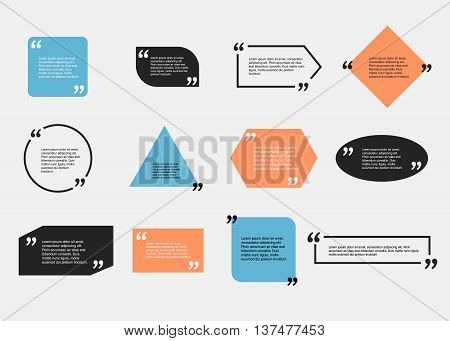 Quote blank template.  Template vector eps 10 set. Empty quote bubble.  Quote form. Quote citation blank template. Blank template with print information design quotes. Color  quote bubble.