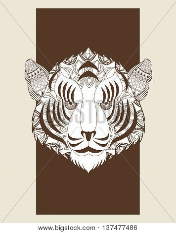 Animal and Ornamental predator concept represented by tiger icon. Draw illustration. Pastel background