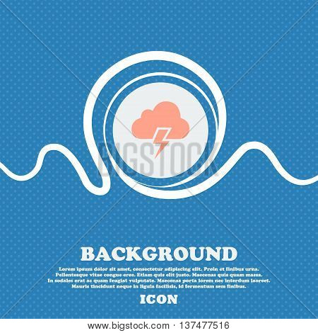 Heavy Thunderstorm Icon Sign. Blue And White Abstract Background Flecked With Space For Text And You