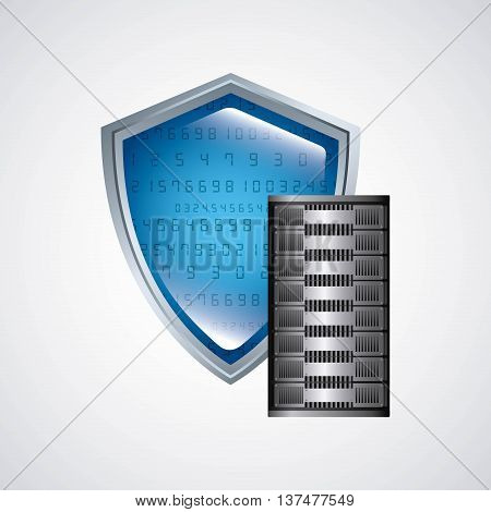 Technology and data base design represented by web hosting and shield icon. Colorfull and isolated illustration.