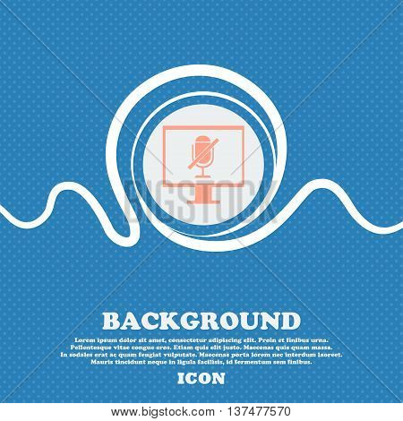 No Microphone Sign Icon. Speaker Symbol. Blue And White Abstract Background Flecked With Space For T