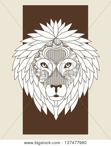 Animal and Ornamental predator concept represented by Lion icon. Draw illustration. Pastel background