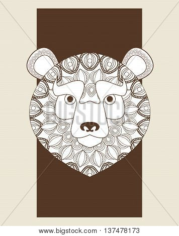 Animal and Ornamental predator concept represented by bear icon. Draw illustration. Pastel background